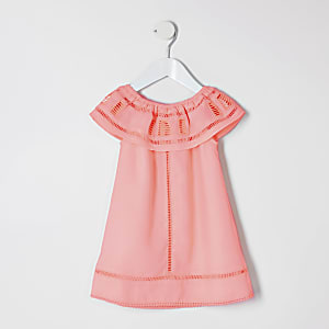Girls coral trapeze dress