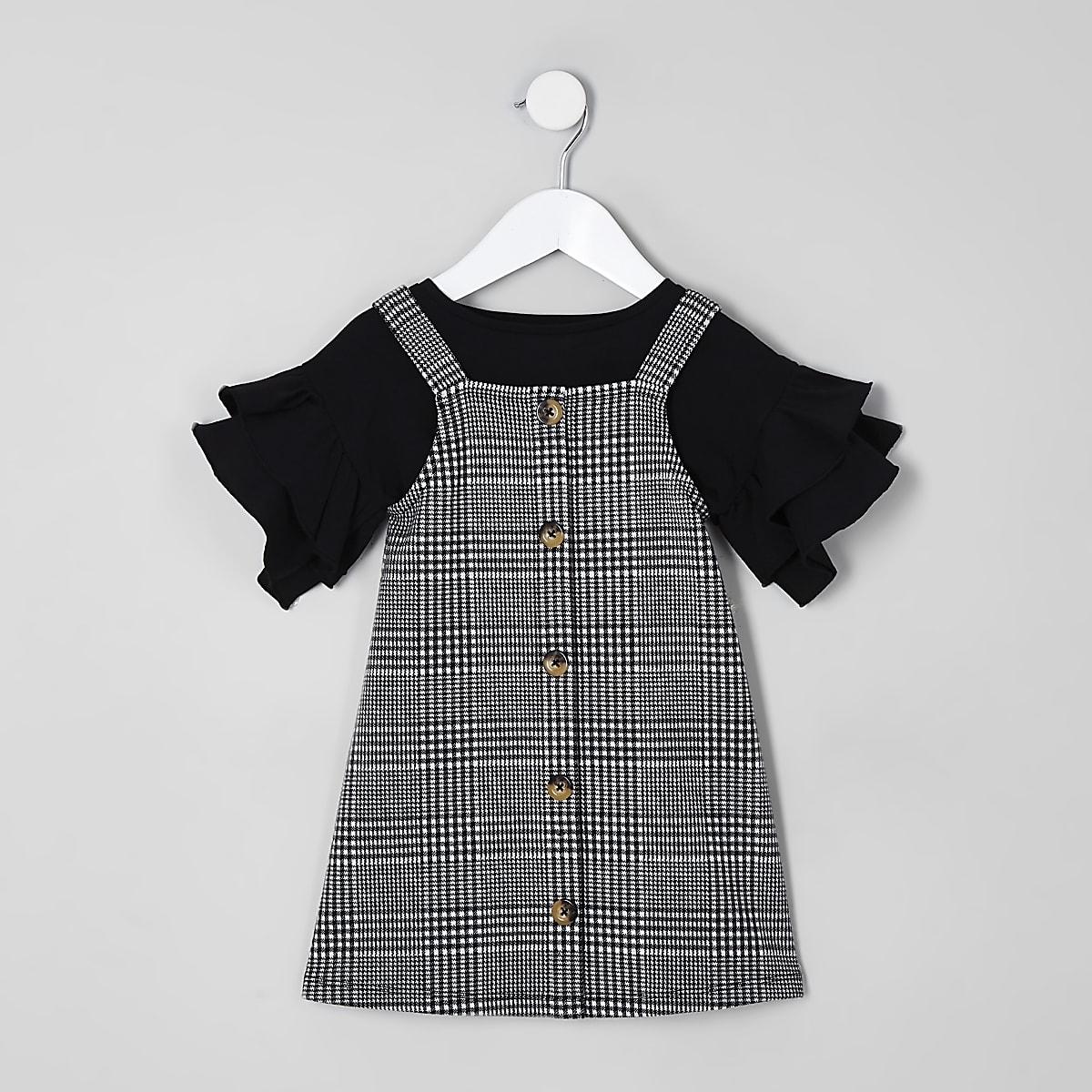 Mini girls black check pinafore dress outfit