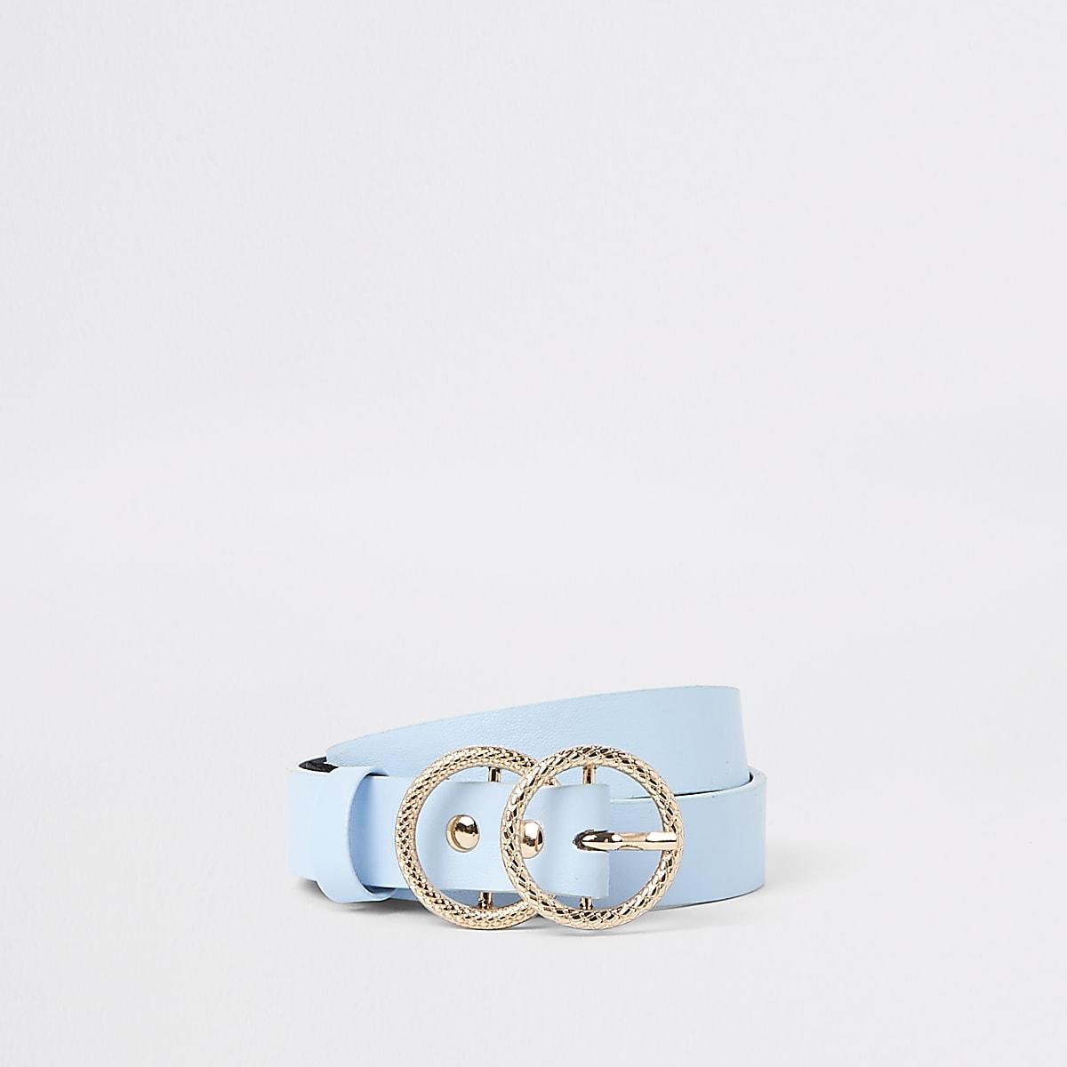 Girls blue double ring jeans belt