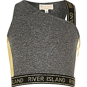 Girls RI Active grey one shoulder crop top