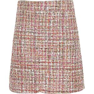 Girls pink boucle A line skirt