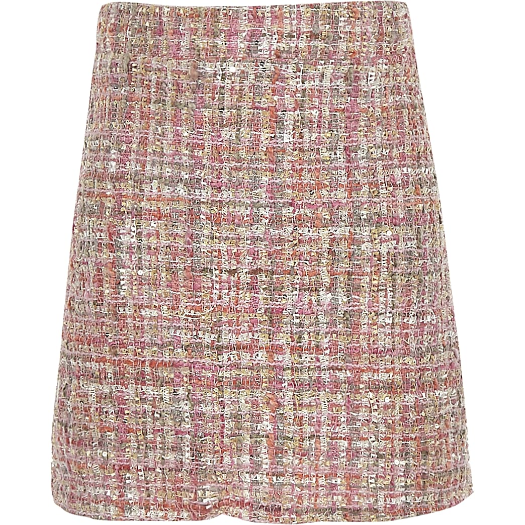 Girls pink boucle A line skirt