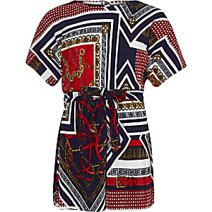 Girls navy scarf print plisse playsuit