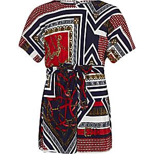Marineblauwe plissé playsuit met sjaalprint voor meisjes