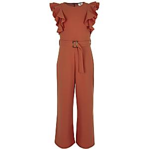 Rode jumpsuit met strikceintuur en ruches voor meisjes