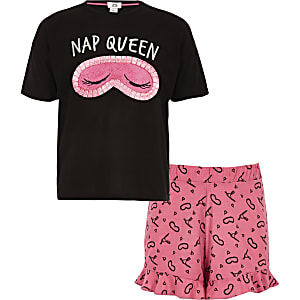 Girls black 'Nap queen' short pyjama set