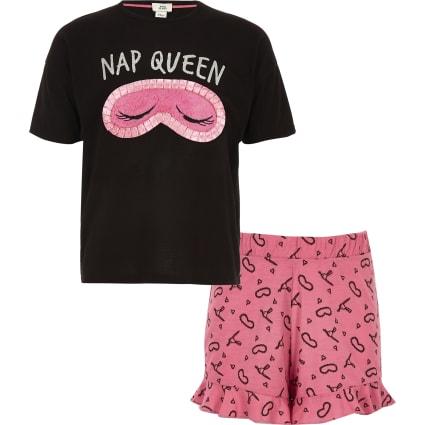 Girls black 'Nap queen' short pyjama set