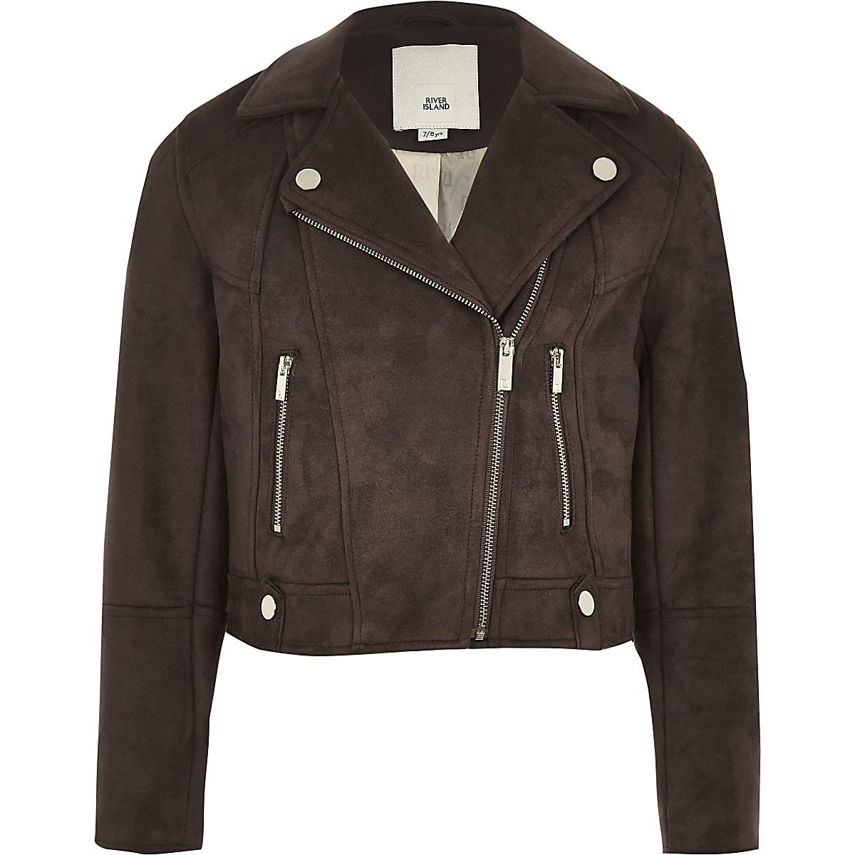 Girls brown faux suede biker jacket