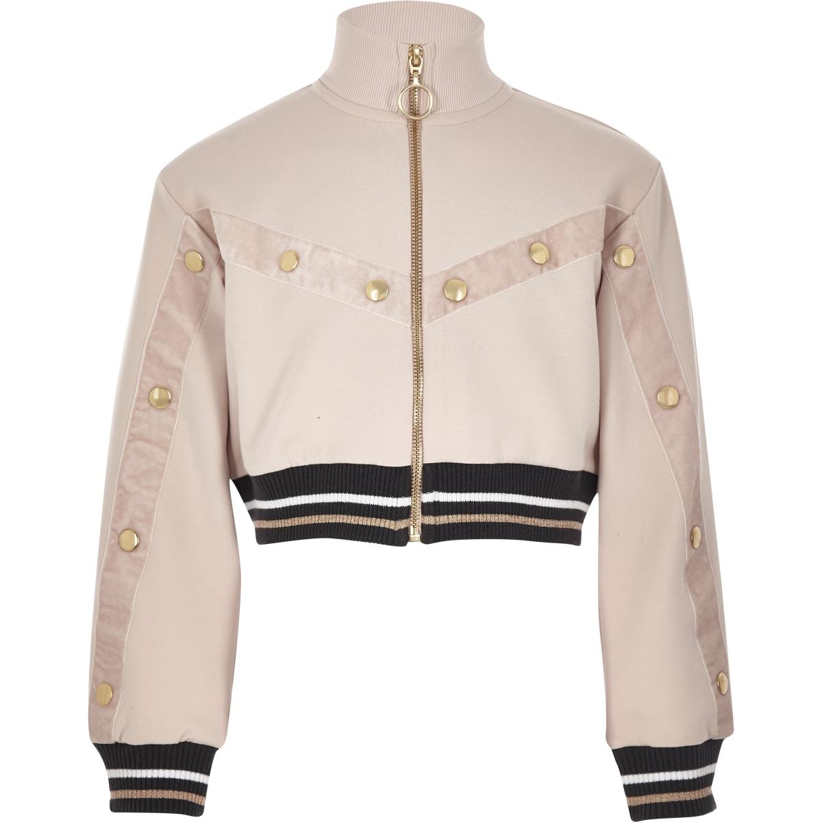 Girls RI Active pink popper funnel jacket