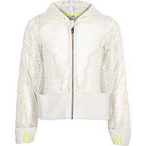 RI Active – Sweat à capuche en maille blanc zippé pour fille