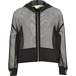 Girls RI Active grey mesh zip hoodie