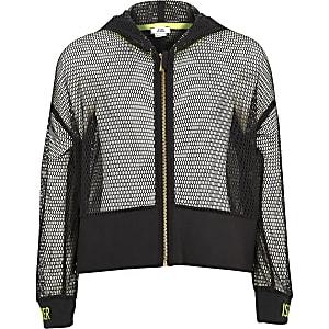 RI Active - Grijze hoodie van mesh met rits voor meisjes