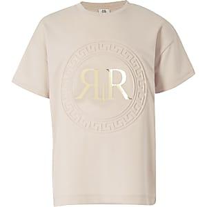 Lichtroze T-shirt met RI-logo in reliëf