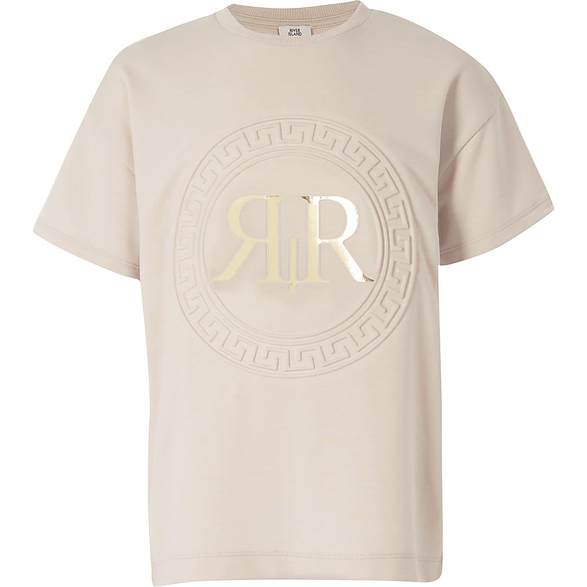 Light pink RI embossed T-shirt