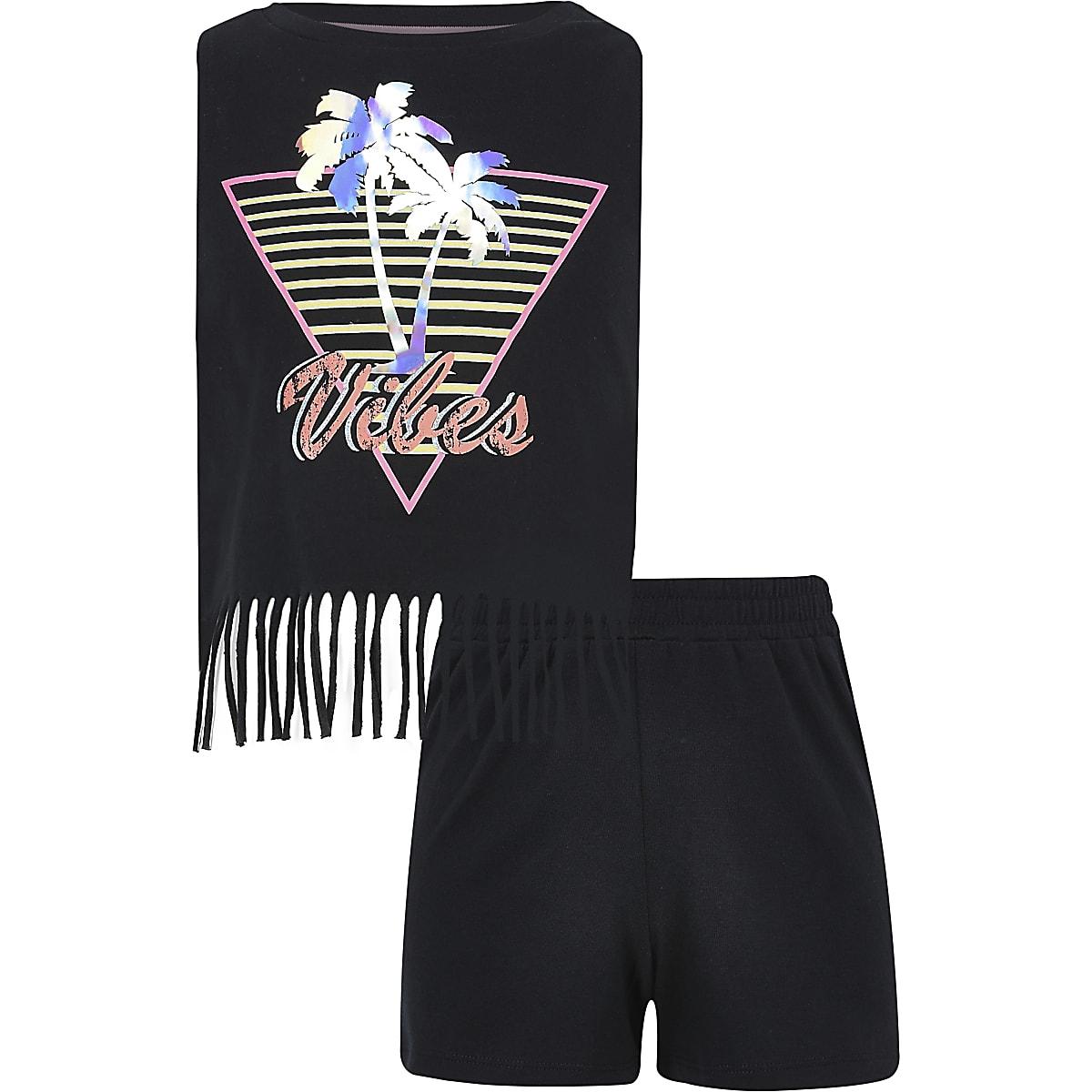 Girls black palm print tassel top outfit