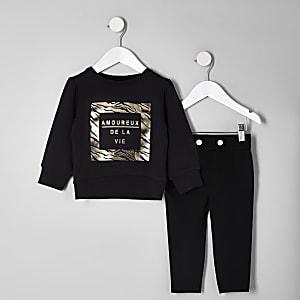 Mini girls black foil print sweatshirt outfit