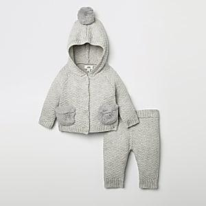 Ensemble avec cardigan en maille gris pour bébé