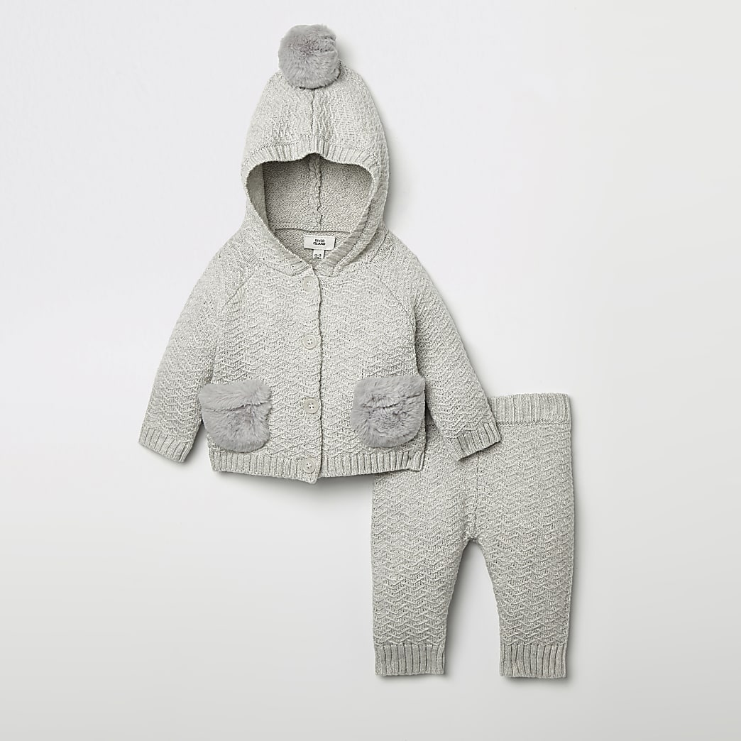 Baby grey knitted cardigan outfit