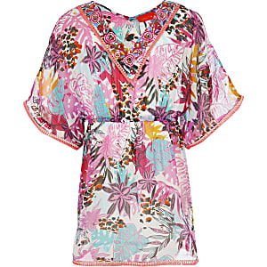 Girls pink tropical print caftan