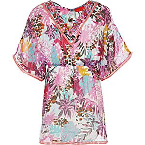 Caftan à imprimé tropical rose pour fille