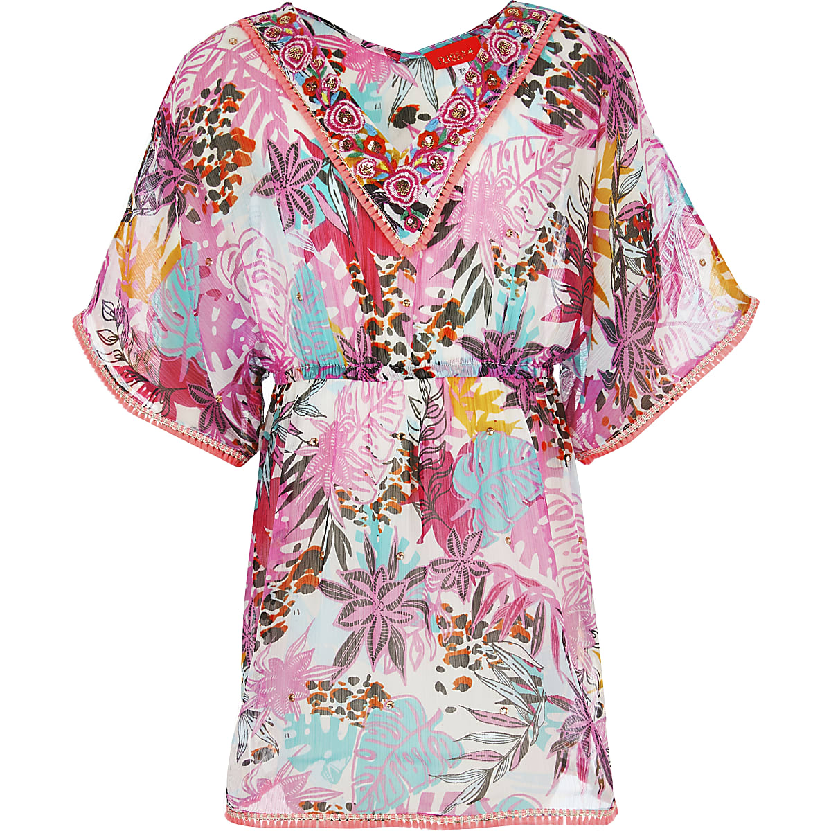 Girls pink tropical print kaftan