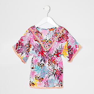 Caftan motif tropical rose mini fille