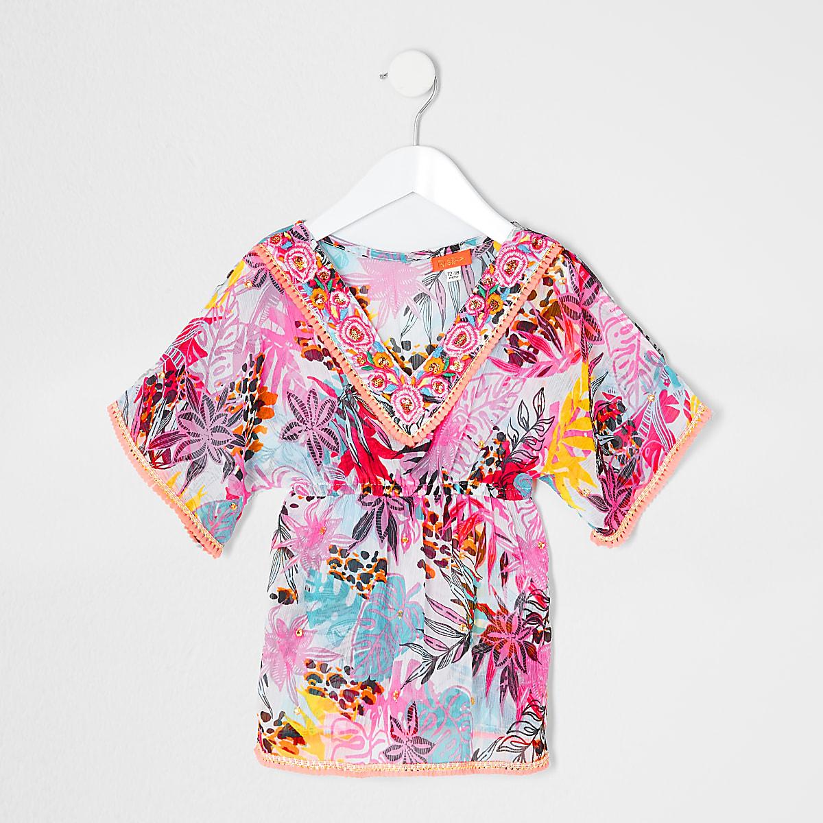 Mini girls pink tropical caftan