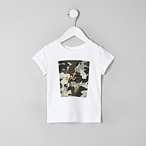 "Weißtes T-Shirt ""Feel Good"" mit Camouflage"
