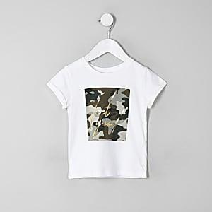 Mini - Wit T-shirt met camouflage- en 'feel good'-print voor meisjes