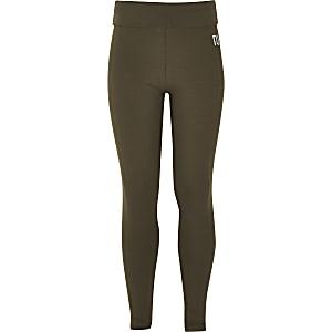 Girls khaki fold over leggings