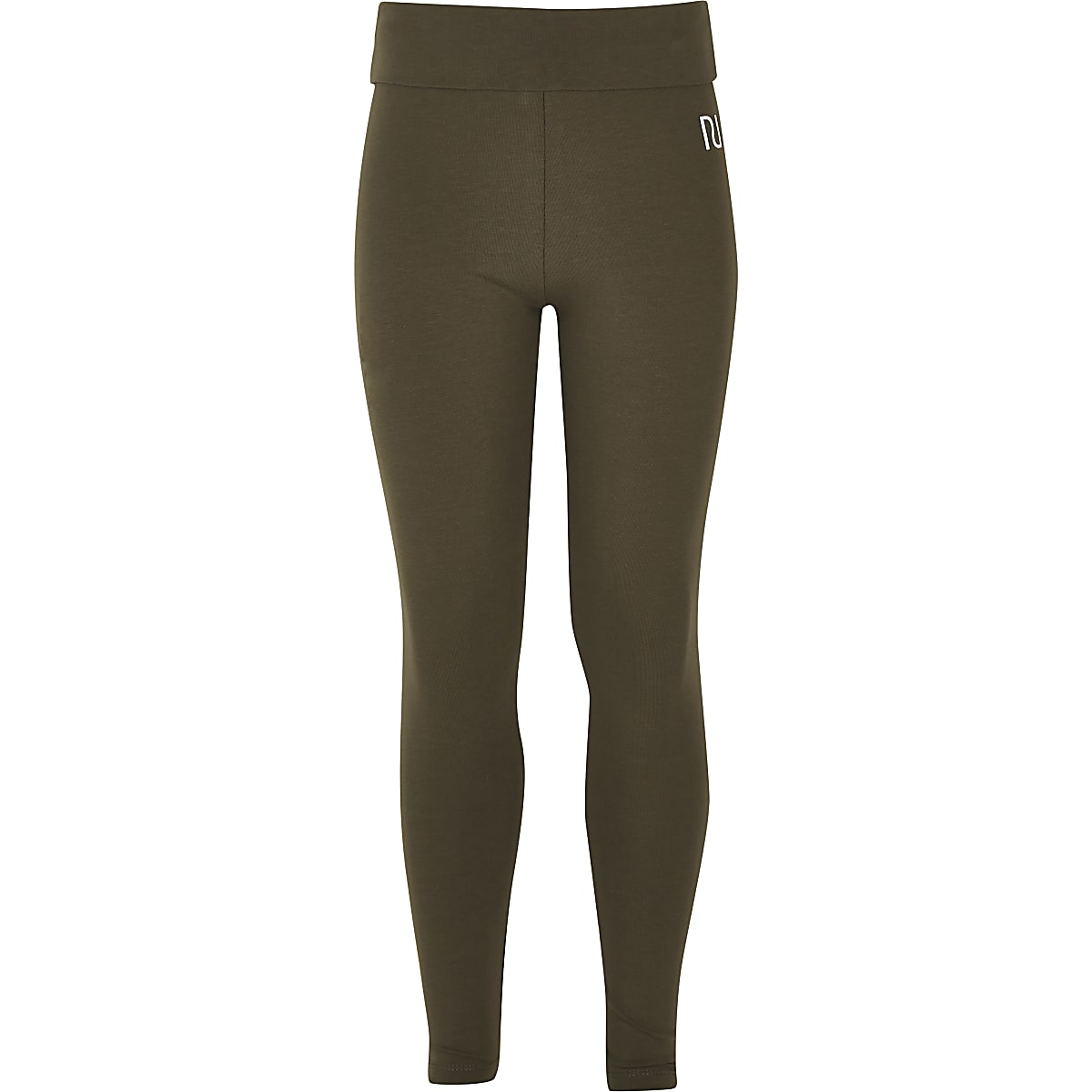 Girls khaki fold over leggings