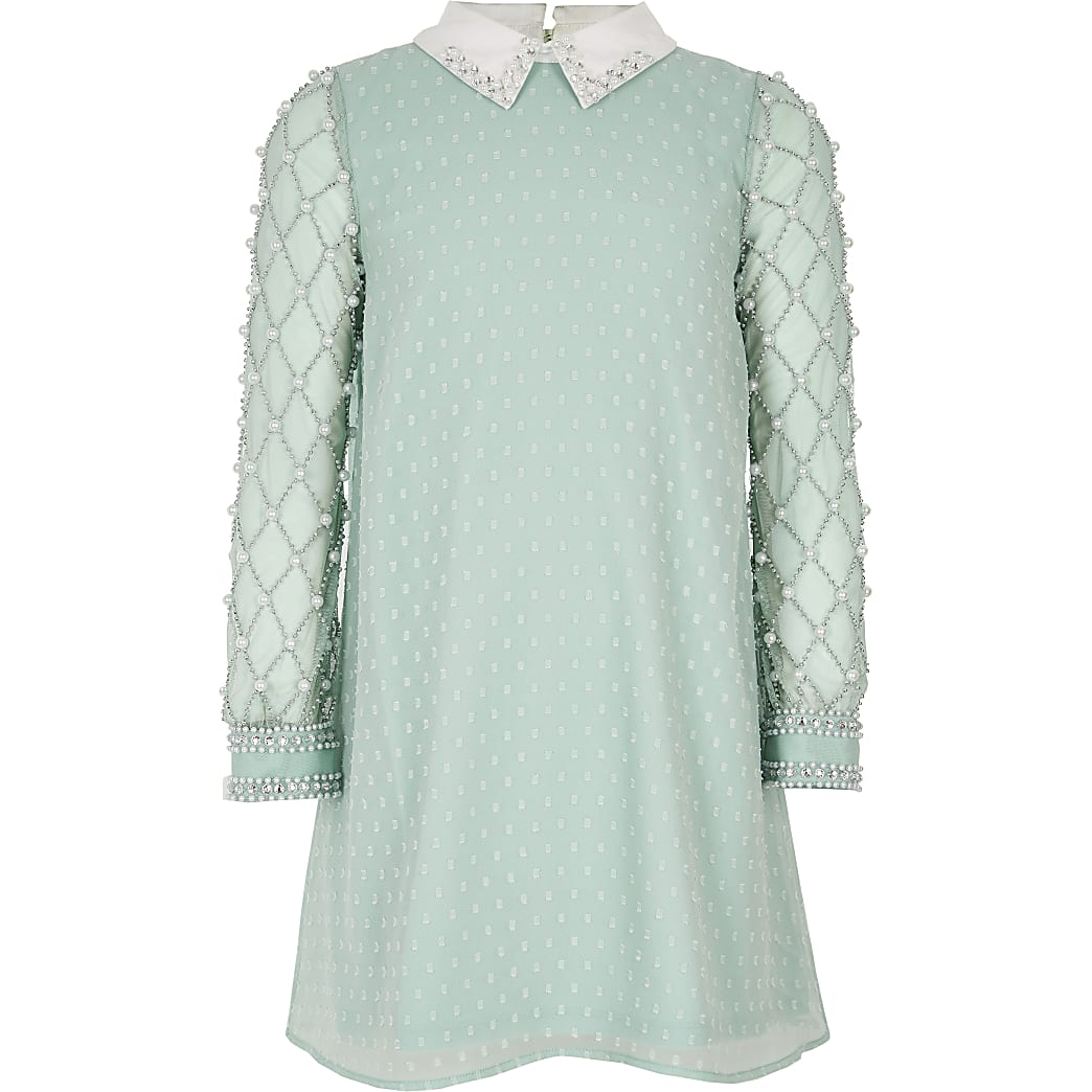 Light green pearl embellished collar dress