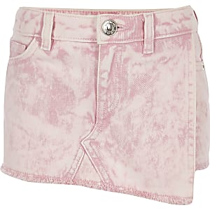 Girls pink acid wash denim skort