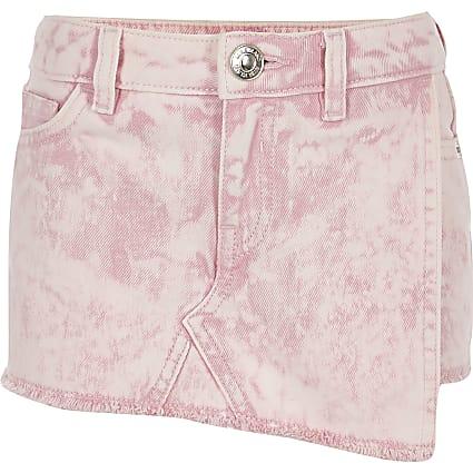 Girls pink acid wash denim skort