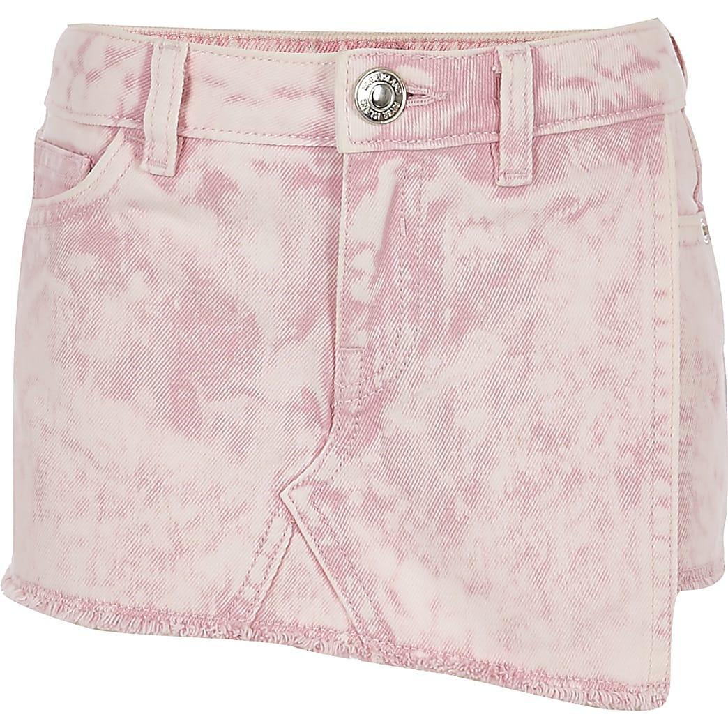 Roze acid wash denim skort voor meisjes