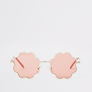 Lunettes de soleil en forme de fleurs à verres roses pour fille
