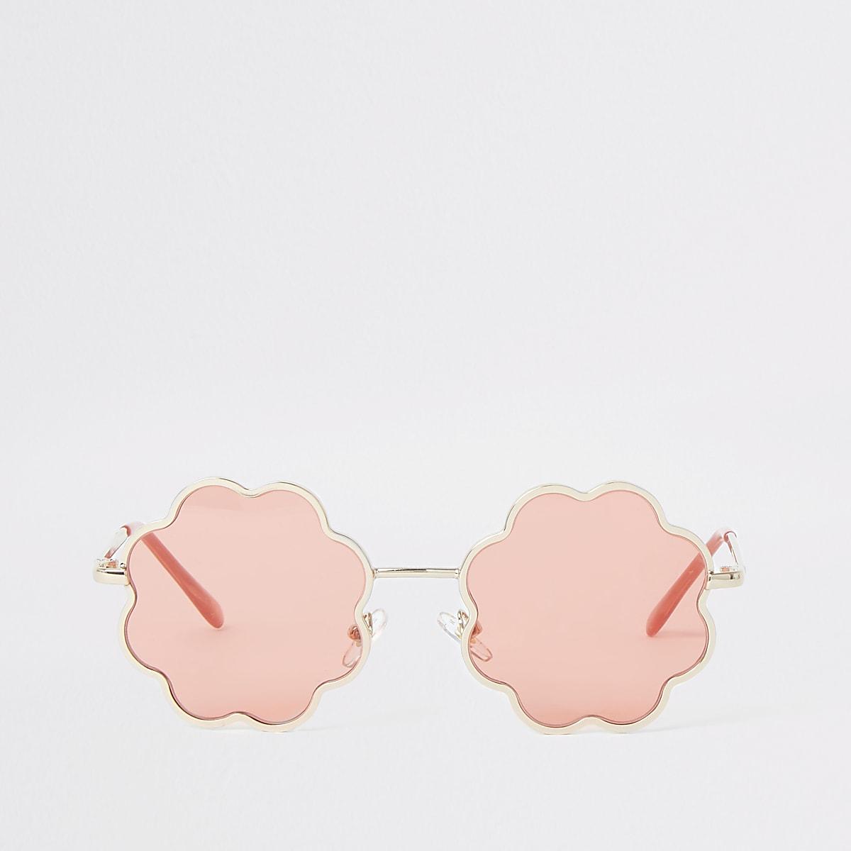 Girls pink lens flower sunglasses