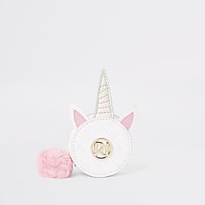 Porte-monnaie rond blanc motif licorne pour fille