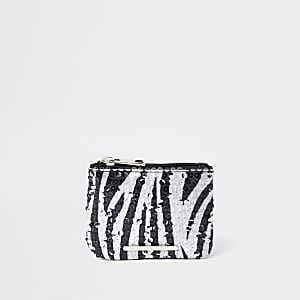 Girls black sequin zebra print zip top purse