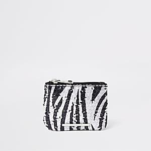 Zwarte portemonee met lovertjes, zebraprint en rits