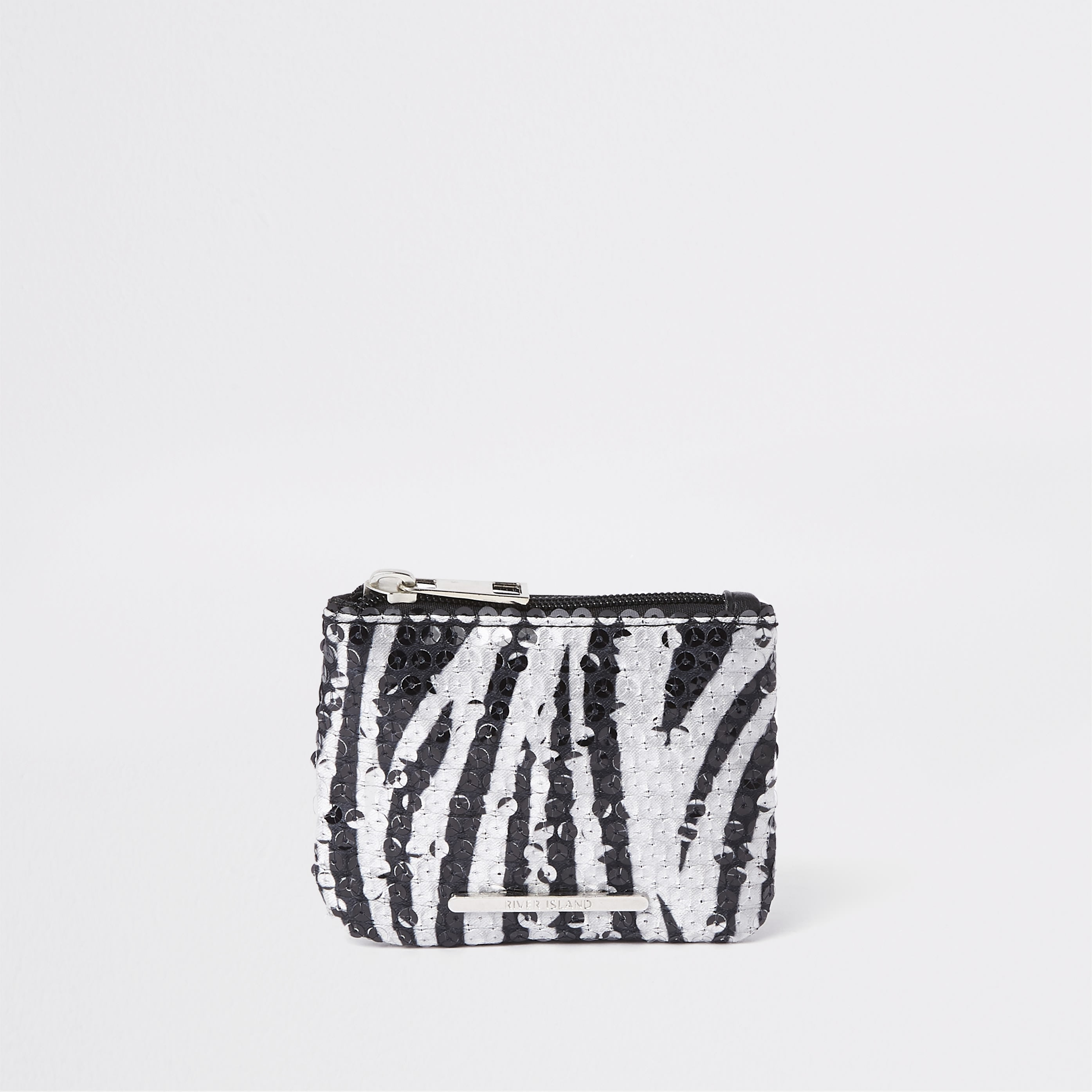 RIVER ISLAND | Girls Black Sequin Zebra Print Zip Top Purse | Goxip