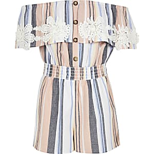 Girls pink stripe crochet bardot romper