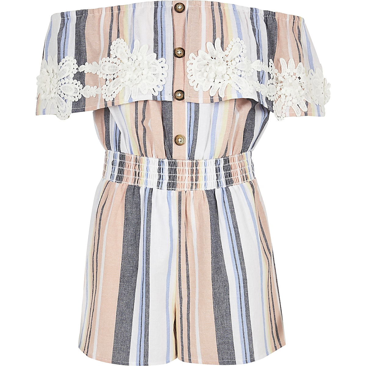 Girls pink stripe crochet bardot playsuit