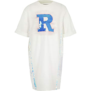 Girls white sequin R T-shirt dress