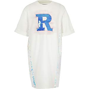Robe t-shirt blanche motif lettre R à sequins pour fille