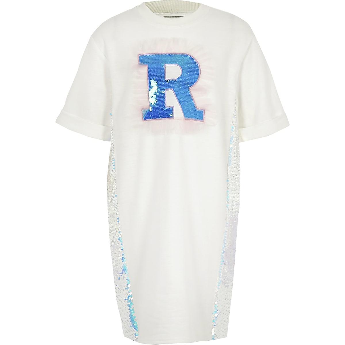 Girls white sequin R T-shirt dress