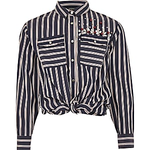 Girls blue stripe embellished tie front shirt