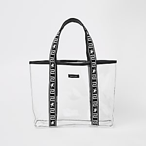 Girls black vinyl shopper bag