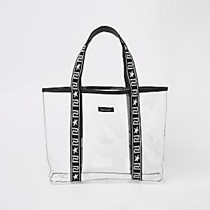 Schwarze Shopper-Tasche aus Vinyl