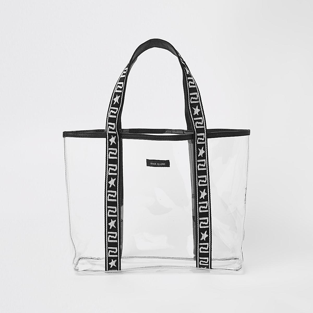 Girls black vinyl shopper bag